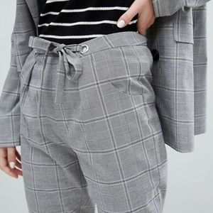 ASOS Wales Check Ankle Trousers With Tie Waist